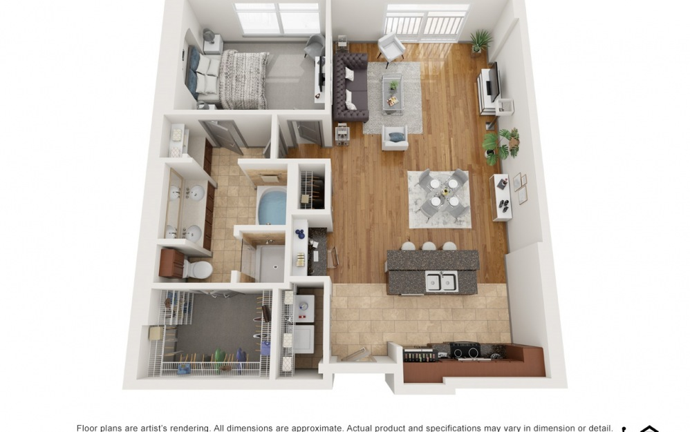 A - 1 bedroom floorplan layout with 1 bath and 1036 square feet.