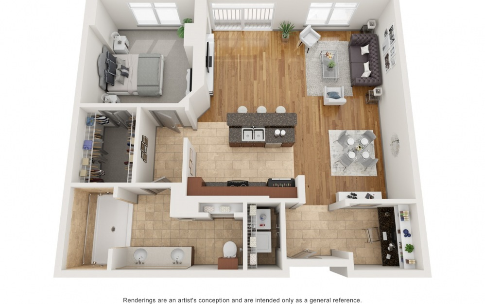 Ba - 1 bedroom floorplan layout with 1 bath and 1144 square feet.