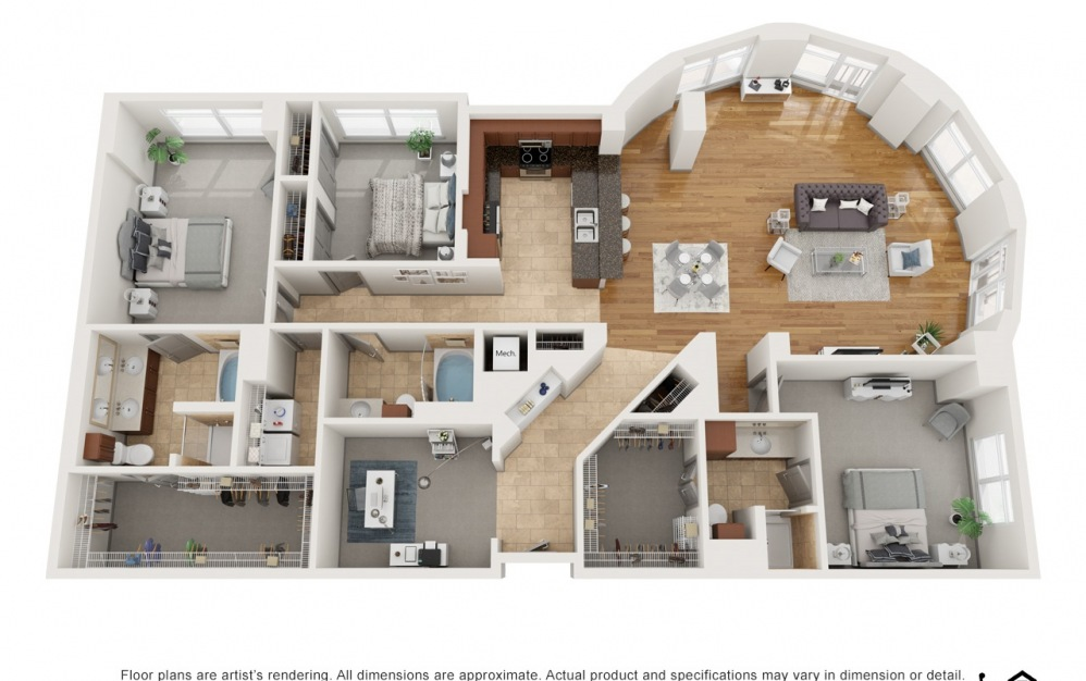 O - 3 bedroom floorplan layout with 3 baths and 2232 square feet.