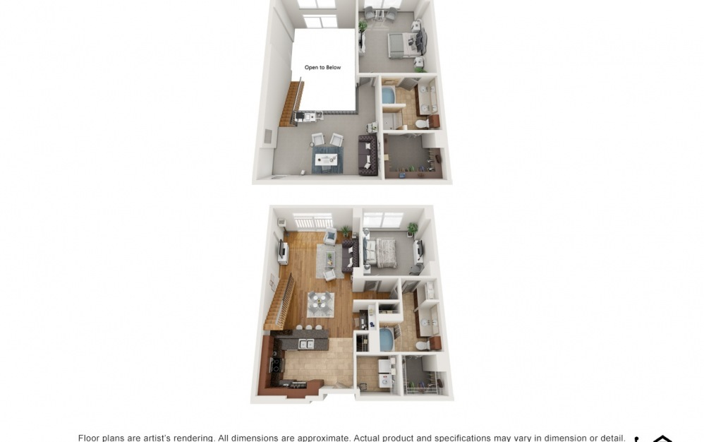 PH2 - 2 bedroom floorplan layout with 2 baths and 1766 square feet.