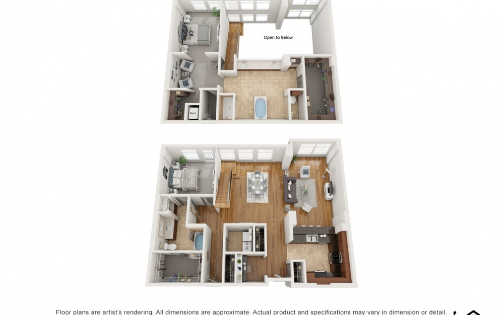 PH6 - 2 bedroom floorplan layout with 2 baths and 2610 square feet.