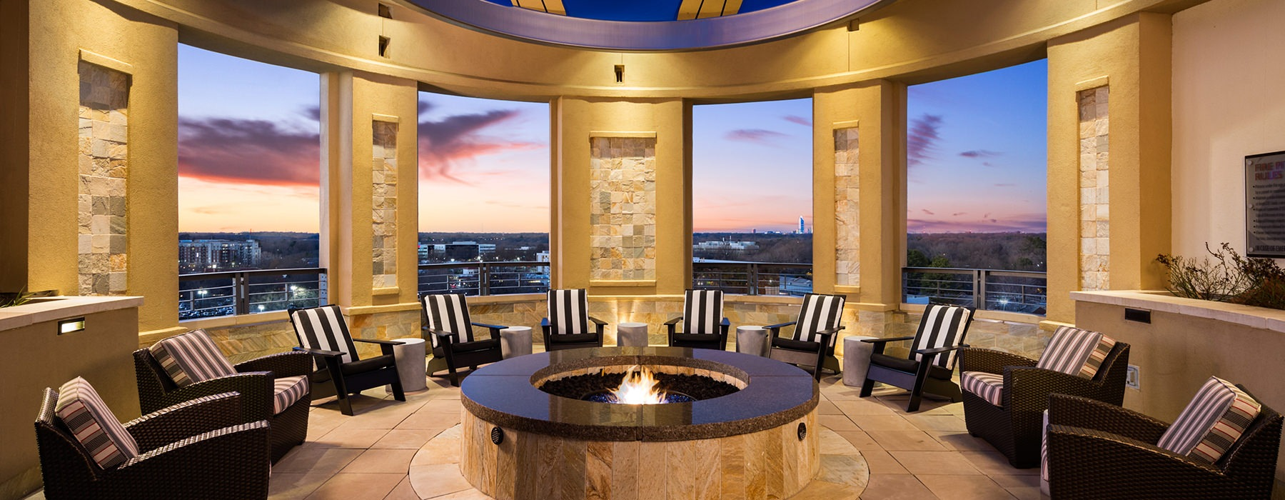 fire pit with lounge chairs